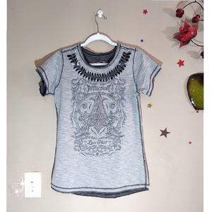 Affliction Graphic Cutt Out Detail T-shirt
